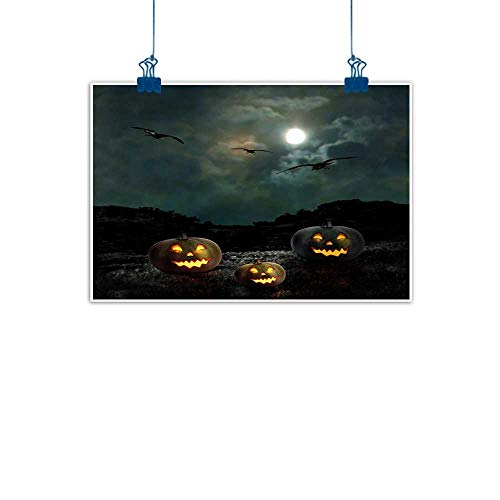 Sunset glow Simple Life Minimalist Halloween,Yard of an Old House at Night Majestic Moon Sky Creepy Dark Evil Face Pumpkins,Multicolor for Bathroom Bedroom Pictures 36