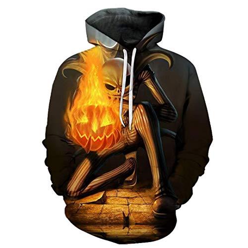 Men Women Jack Skellington Fire Pumpkin Cool 3D Print Tracksuits Hoodies Sweatshirts Winter Outdoor Sport Outwear Tops 6X