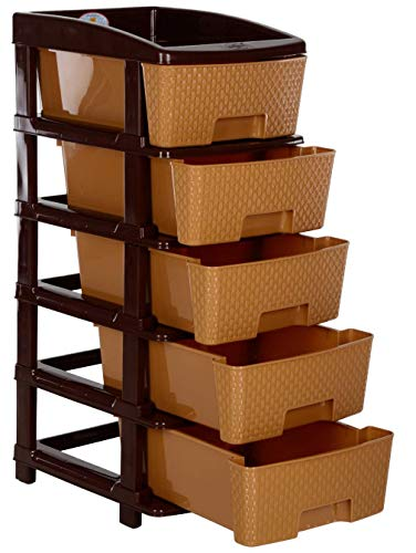 Nakoda Containers Drawer, Beige, Bamboo, 5 Tier, 11.81 X 15.35 X 30.7 Inches
