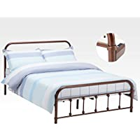 New Metal Bed Frame Platform Queen Size w/ Headboard Footboard Bedroom