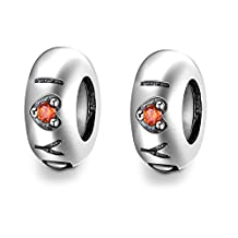 Lovans 2 Pieces Sterling Silver Rubber Spacer Stopper Beads For European Chamilia Biagi Troll Pandora Bracelets