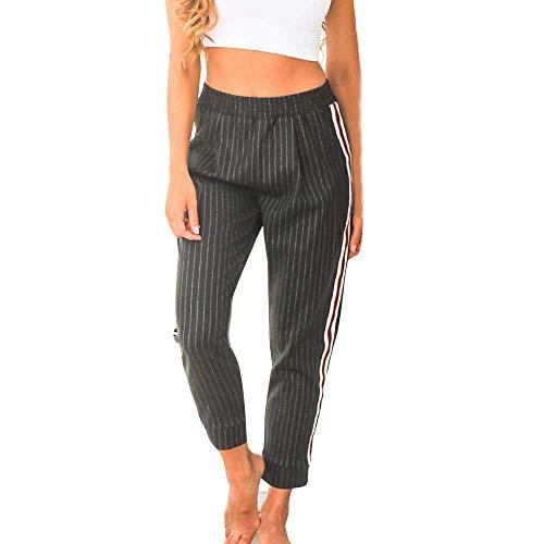 BBesty Womens Fashion Stripe Lattice Casual Pants Ladies Slim Fit Full Length Trouser Black -