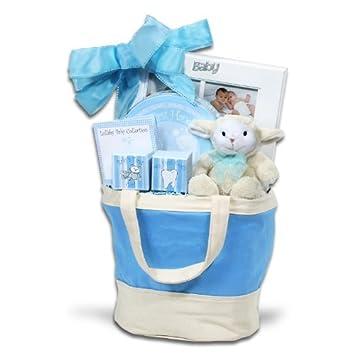 Amazon.com : Del bebé del recuerdo de asas azul cesta de regalo, 3 ...