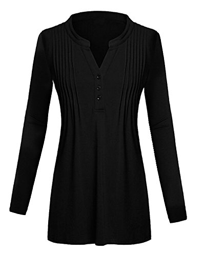 eeve Split V Neck Ruched Pleats Tunic Shirt Tops With Button US18 (Pintucked Button Front Shirt)
