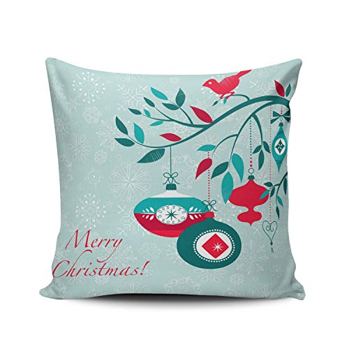 Fanaing Aqua Mint Christmas Red Bird and Ornament Art Deco Style Pillowcase Home Sofa Decorative 26X26 Inch European Throw Pillow Case Decor Cushion Covers Double Sided ()