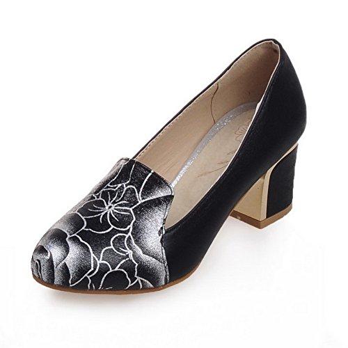 Amoonyfashion Womens Pull Sur Bout Fermé Talon Chaton Talons Pu Couleur Assortie Pompes-chaussures Noir