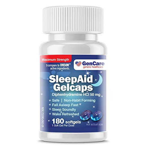 GenCare - Nighttime Sleep Aid Pills for Adults | Diphenhydramine HCl 50mg (180 Softgels) Value Pack | Strong Non Habit Forming Sleeping Relief for Men & Women | Fall Asleep Faster & Wake Refreshed (Best Otc For Sleep)