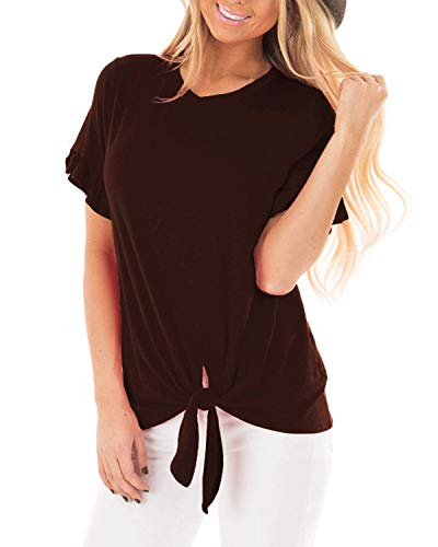Pneacimi Tie Front Short Sleeve Casual Loose Shirt Tops for Women (Brown Shirt, 2XL)