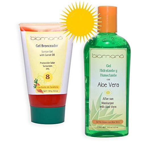 Kit Protección solar: gel bronceador aceite de zanahoria y gel refrescante con aloe vera