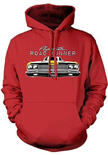 Amdesco Men's Plymouth Road Runner Officially Licensed Hooded Sweatshirt, Red Small ()