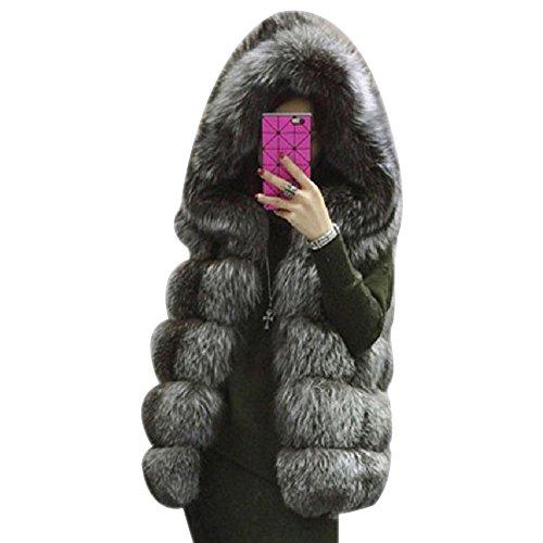 fausse LaoZan Femme Manteau Vest Argent Capuches en sans Manches fourrure Gilet AWqZXwnRW6