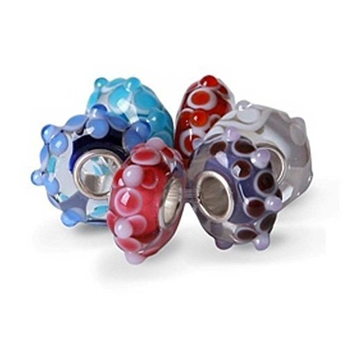 3D Dotted Six Bead Set Bundle Multicolor Murano glass Lampwork.925 Sterling Silver
