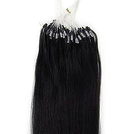 CHOILUI Mirco Loop Ring Hair 100% Human Hair Micro Beads Hair Extensions 100strands 18″ 50g