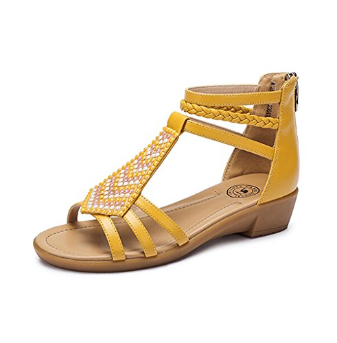 Camel Womens Bohemia Metal Decorated Wedge Heel Sandals Color Yellow Size 37 M EU hYyEA