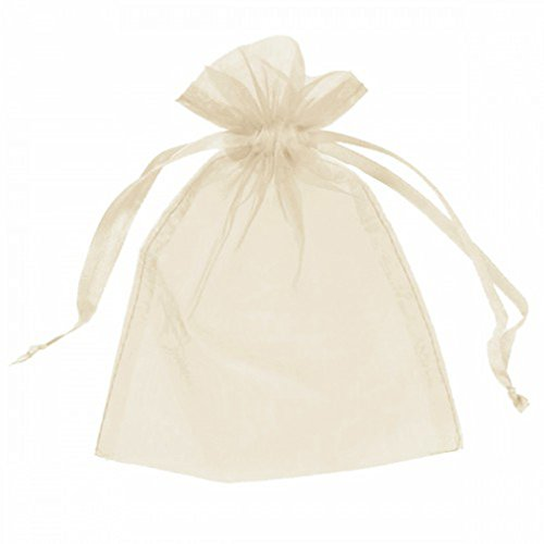 (100 pcs Sheer Organza Drawstring Pouches Gift Bags Ivory Color 3x4 Inches)