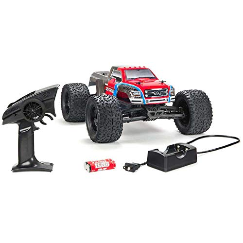 ARRMA GRANITE VOLTAGE MEGA 2WD Electric RC RTR Remote Control SRS Monster Truck with 2.4GHz Radio, Battery (x2), and Charger, 1:10 Scale (Red/Black) -