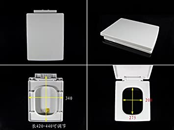 Topseh High Quality Pp Material Toilet Cover Slowly Drop Square Seat Cover Rectangular Staircase Pedestal Cover Plate, E Is 350 Long And 420-440Simple Modern Comfortable Bacteria Removal Home Toilet Common