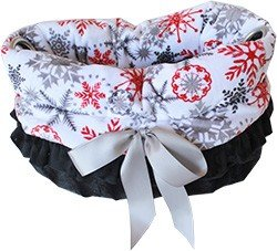 Red Snowflake Reversible Snuggle Bugs Pet Bed Bag And Car Seat ()