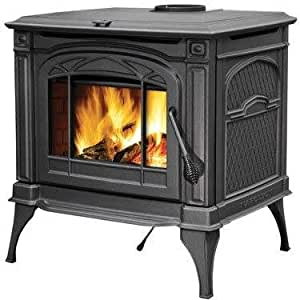 """Banff Series 1400CP 28"""""""" Natural Vent Wood Burning Stove with Ash Pan Concealed Hinges Refractory Lined Firebox and Heat Radiant Ceramic Glass in Metallic Black"""