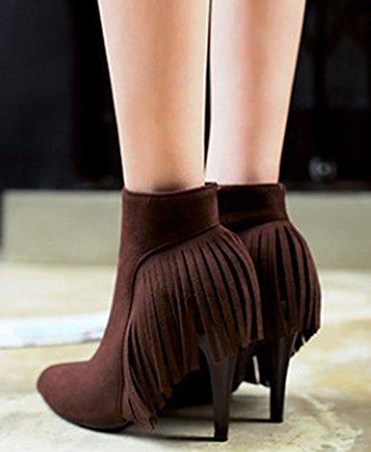 IDIFU Womens Elegant Fringes Tasseled Pointed Toe High Heels Stiletto Side Zip Up Ankle Boots Brown UfK7HIO