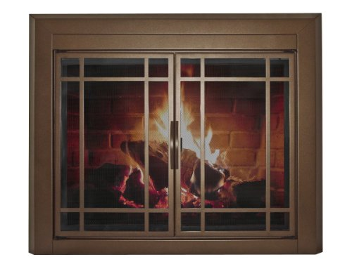 Pleasant Hearth EN-5500 Pleasant Hearth Enfield Glass Firescreen, Small, Burnished Bronze