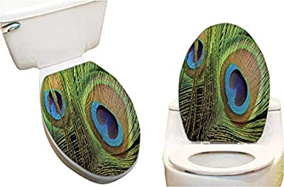 """Toilet seat Sticker Peacock Feather Close Up Design Exotic Plume Royalty and Good Luck Mystic Toilet Seat Sticker Vinyl Toilet Lid Decal Decor 15""""x17"""""""