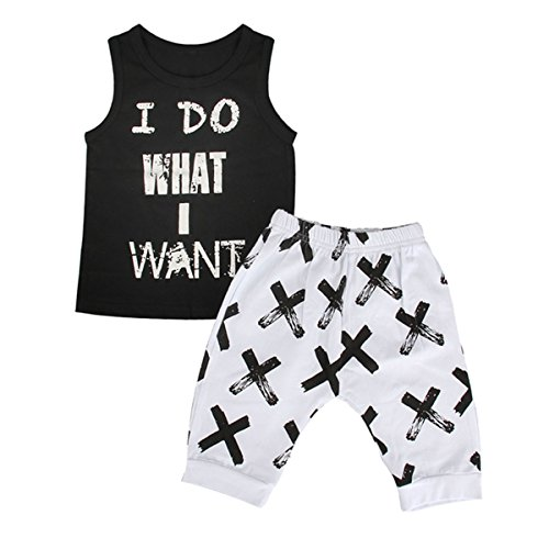 2pcs Toddler Kids Baby Boy Cool Sleeveless T-shirt Vest+Pants Clothes Outfit Set (1T-2T) -