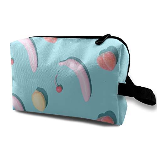 (Rainbow Fruit Cosmetic Bags Makeup Organizer Bag Pouch Zipper Purse Handbag Clutch Bag)