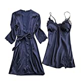 Women's Satin Lingerie Floral Embroidery Babydoll Sleepwear Lace Chemise Soft Nightgown Robe (Navy, XXL)