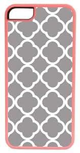 CellPowerCasesTM Gray Quatrefoil ChromaLuxe Pink Case for iPhone 5c (5c V2 Pink Case)