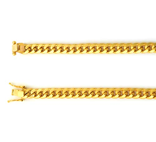 - LOVEBLING 10K Yellow Gold 6mm Miami Cuban Link Chain Bracelet with Box Lock (Available in Lengths 8