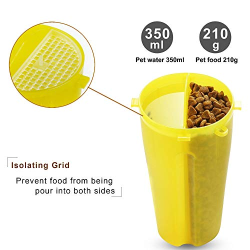 Dog Water Bottle Dog Bowls for Traveling Pet Food Container 2-in-1 with Collapsible Dog Bowls, Outdoor Dog Water Bowls for Walking Hiking Travelling … (Yellow)