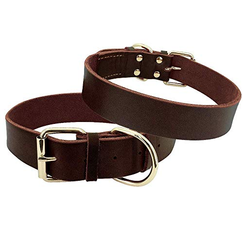 Beirui Genuine Leather Dog Collars - Heavy Duty Durable Military Grade Dog Training Collars - Walking for Medium Large Dogs,Rich Brown,L(21
