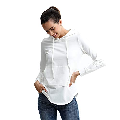 Wenker Womens Active Hoodie Fashion Casual Thin Sweatshirts Pullover with Long Sleeve for Women Girl (White, X-Large) ()