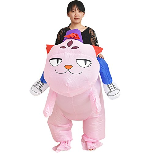 Kitty Cat Ballerina Costume (Inflatable Rider Costume Fancy Dress Funny Pink Cat Pussy Kitty Blow Up Suit Mount Party Toy)