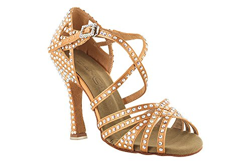 scarpa da ballo 5 fasce incrociate tempestato di cristal strass tacco 10 cm