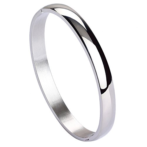 MILAKOO Womens Mens Stainless Steel Bracelet Plain Polished Finish Cuff Bangle 7