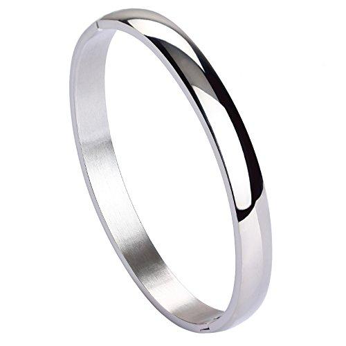 Womens Polished Stainless Steel Bracelet - MILAKOO Womens Mens Stainless Steel Bracelet Plain Polished Finish Cuff Bangle 7