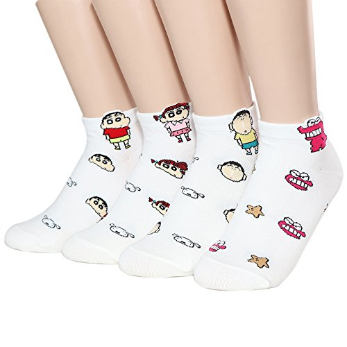 Socksense Choice Famous Japanese Series Animation Print Crew Socks (Shinchan-Friends_4pairs)