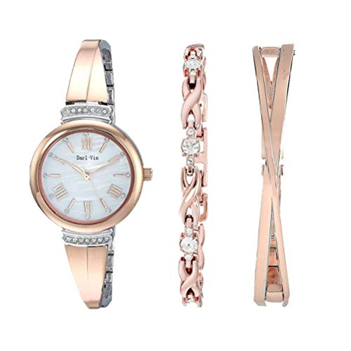 Women's Wrist Watches with Rose Gold Band Rose Gold Bracelet Watch Charm Bracelet Set