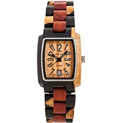 Tense Mutlicolored Solid Wood Mens Watch Rectagular Hypoallergenic J8102IDM