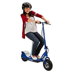 Razor E300S Seated Electric Motorized Scooter (Blue) & Youth Helmet (Black)