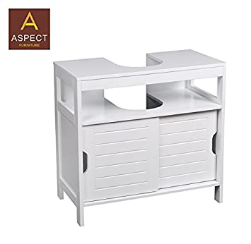 ASPECT Ashmore Bathroom Under Sink Storage Cabinet Wood White