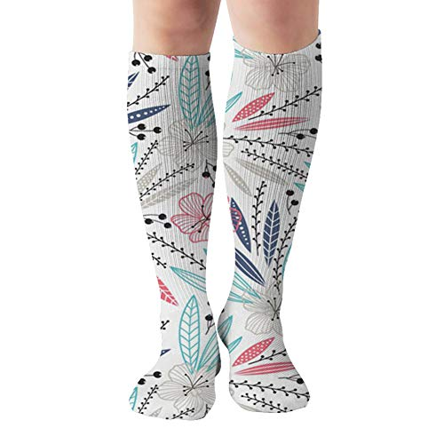 Colorful Floral Compression Socks For Women And Men - Best Medical,For Running, Athletic, Varicose Veins, Travel 19.68 Inch