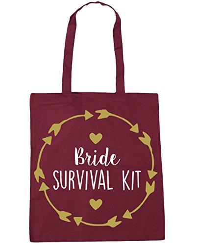 HippoWarehouse Bride survival Tote Shopping Gym Beach Bag 42cm x38cm, 10 litres Burgundy