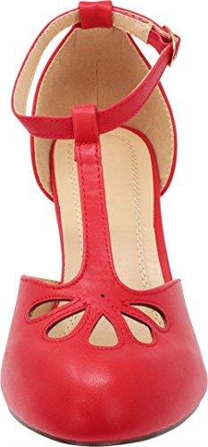 Strap Red Jane T Teardrop Mary Pump Cambridge Select Women's Cutout Dress AxawvwXZq