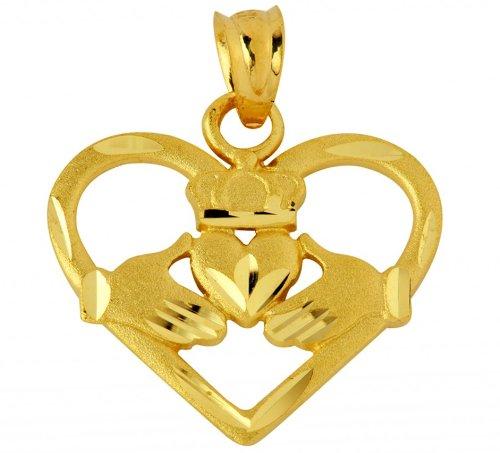 10 ct 471/1000 En Forme De Coeur Claddagh Pendentif Collier (Livre Avec un 45 cm Chaine)