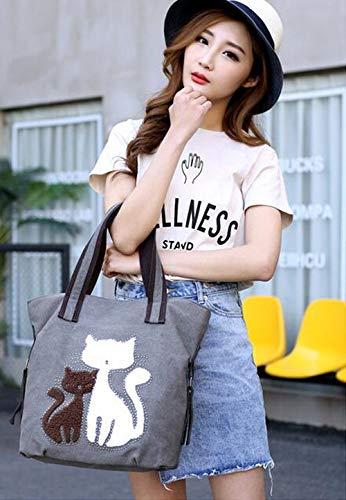Azul Bolso Talla Mujer diseño niña Mujer para única Gatito Wei de Lona de gris fei pgq5WwnB4P