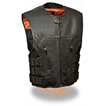 Milwaukee Leather Men's Bullet Proof Look Style Swat Vest Single Panel Back & Dual Inside Gun Pockets (X-Large) by Milwaukee Leather
