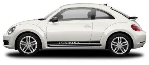 MoProAuto Pro Design Series Beetle Rocker 1 : 1998-2016 Volkswagen Beetle Lower Rocker Panel Vinyl Graphic Decal Stripes (Fits All Models) (Color-3M 02 Gloss Black)